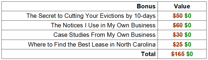 Look at all these rental eviction bonuses!
